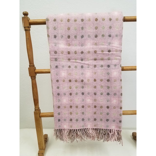 Wool Throw Brown and White Polka Dots on Pink Background - Made in England For Sale - Image 13 of 13