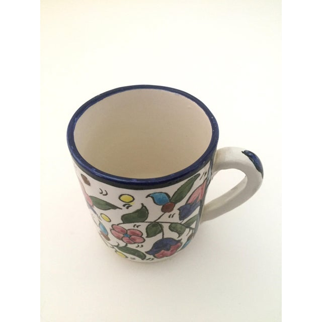 White Vintage Jerusalem Pottery Armenian Floral Ceramic Hand Painted Mugs - a Pair For Sale - Image 8 of 9