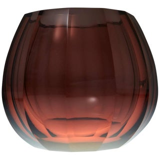 Amber Hand-Cut Crystal Vase Attributed to Josef Hoffmann Signed Moser & Söhne For Sale
