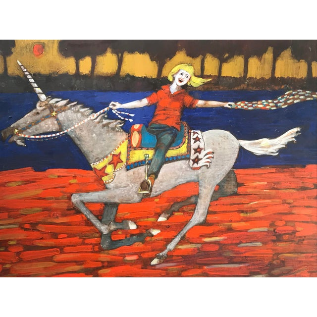 1980's whimsical unicorn painting on board, full of life and joy. The piece offers a variety of vibrant colors and makes...