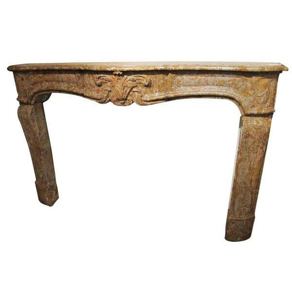 French Country Caramel Colored Stone Mantel For Sale - Image 4 of 5