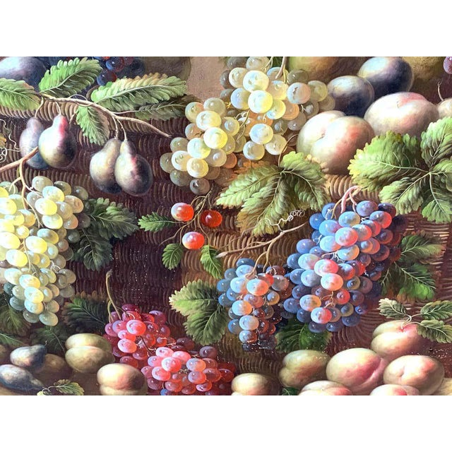 Green European Still Life of Grapes on a Ledge, Unsigned For Sale - Image 8 of 11