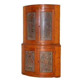 Antique Bow Front Original Painted Corner Cabinet Cupboard, Sweden For Sale