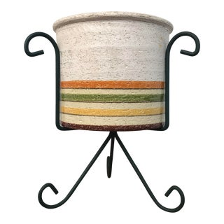 1970's Italian Striped Ceramic Planter on Stand For Sale
