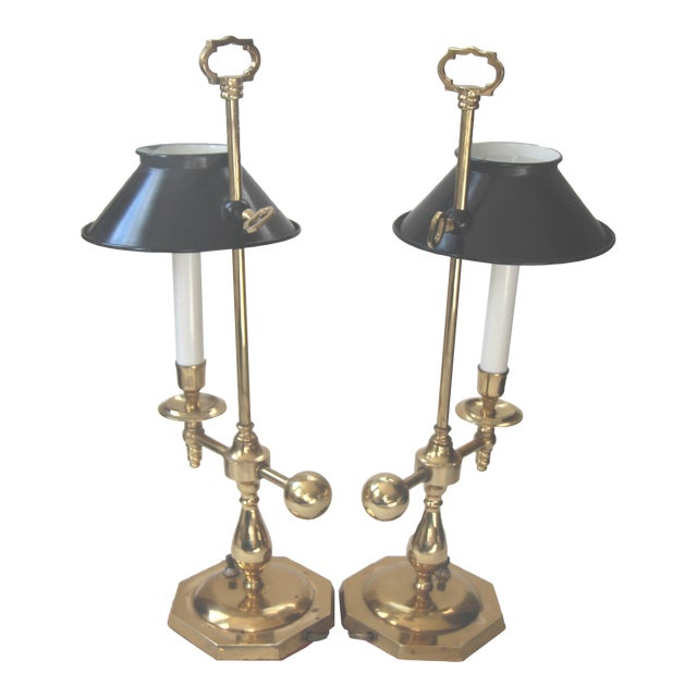 Bouillotte Solid Brass Table Lamps - Pair - Image 1 of 6