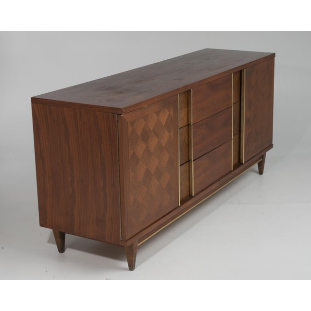 "Vintage Witz ""The Basic Line"" Furniture Mid Century Marquetry Burl Walnut Brass Dresser 1960s For Sale - Image 4 of 12"