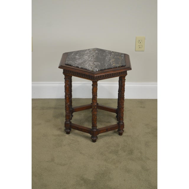 Antique Italian Carved Walnut Hexagon Marble Top Taboret Side Table For Sale - Image 11 of 13