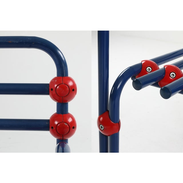 Italian Postmodern Pair of Armchairs in Red and Blue For Sale - Image 6 of 8
