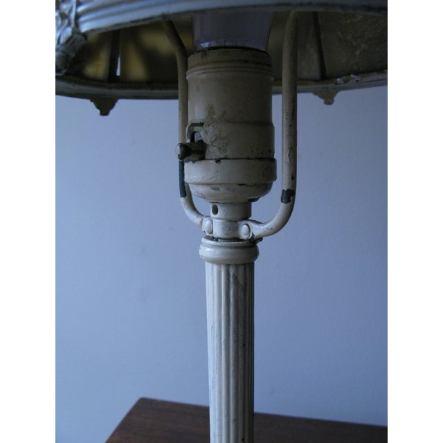 Cream Iron and Brass Slag Glass Lamp - Image 3 of 8