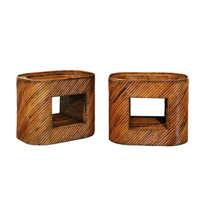 Exceptional Restored Pair of Bamboo Display End Tables, circa 1975 For Sale - Image 13 of 13