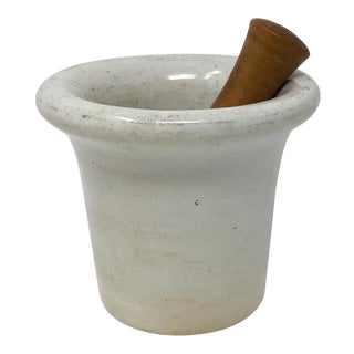 Vintage Porcelain Mortar and Pestle, Found in France For Sale