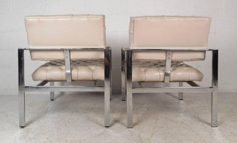 Mid Century Modern Vinyl Tufted Lounge Chairs By Milo Baughman For Thayer  Coggin   A