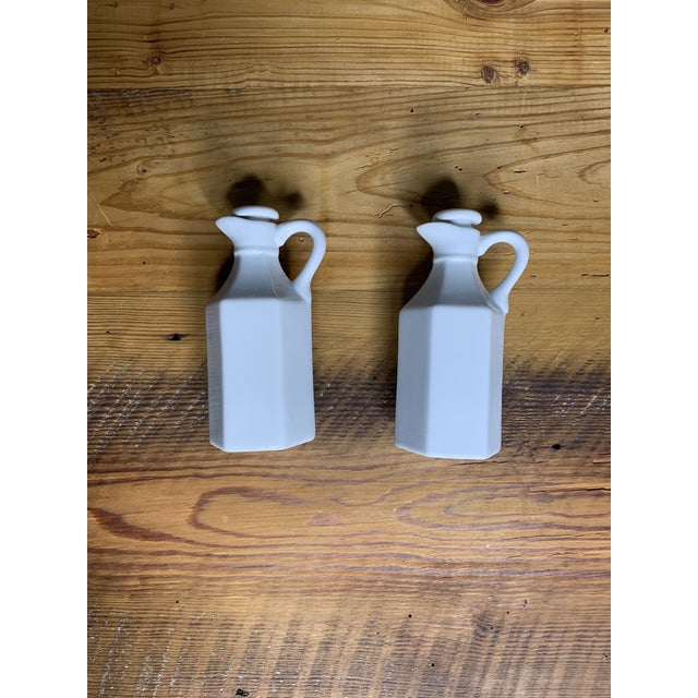 Vintage White Condiment Jars - a Pair For Sale - Image 4 of 11
