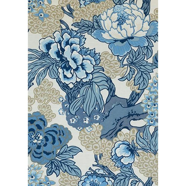 Add a pop of color to your room with this bold floral pillow cover with a bit of an Asian flair. Shades of blue and tan on...