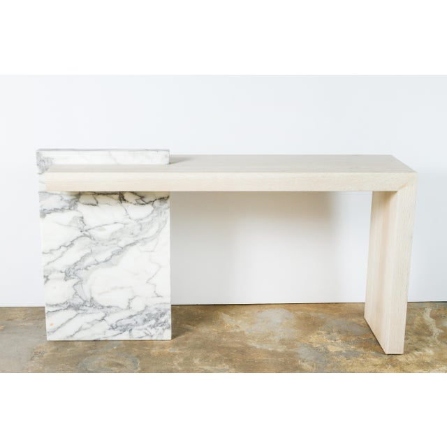 Contemporary Paul Marra Marble and Bleached Oak Console For Sale - Image 3 of 11