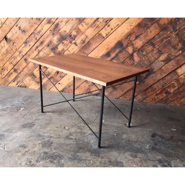 Mid-Century Modern Custom Mid Century Style Walnut Wrought Iron Side Coffee Table For Sale - Image 3 of 6