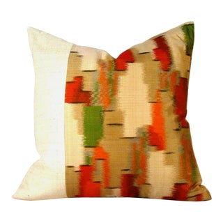 Autumnal Japanese Meisen Silk Geometric Ikat Pillow Cover For Sale