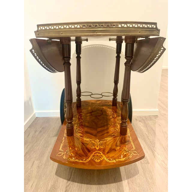 Mid Century Vintage Italian Inlay Wood Bar Cart For Sale - Image 9 of 13