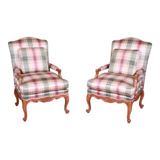 Baker Furniture French Provincial Louis XV Bergere Chairs, Pair For Sale