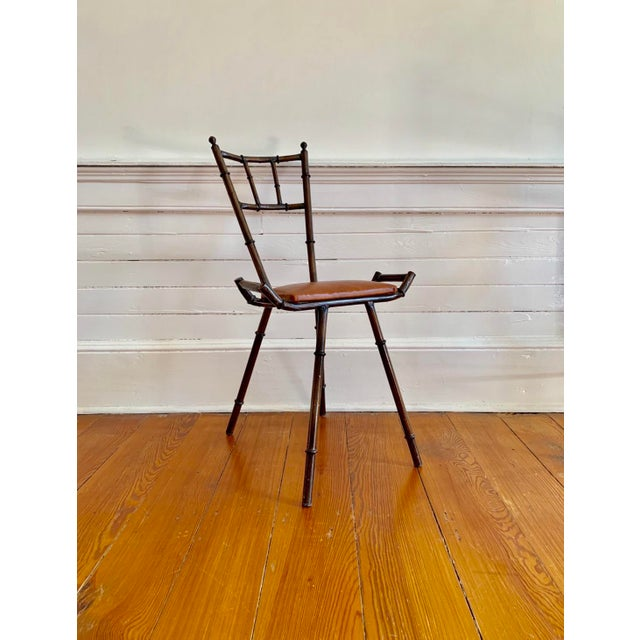 1960s 1960s Vintage Faux Bamboo Vanity Table and Chair For Sale - Image 5 of 8