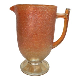 Jeannette Crackle Style Marigold Carnival Glass Water Lemonade Pitcher For Sale