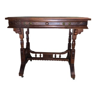 1920s English Traditional Leather Inlaid Exotic Wood Side Table For Sale