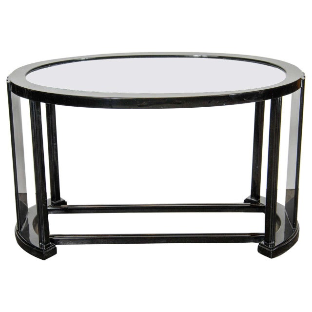 Black Art Deco Bauhaus Style Cocktail or Occasional Table in Black Lacquer and Glass For Sale - Image 8 of 8