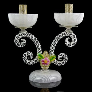 Murano White Filigrana Gold Leaf Flowers Italian Art Glass Candlestick, Pair Preview