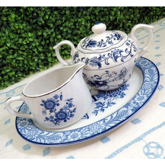 Vintage Mismatched Sugar Bowl & Creamer With Tray For Sale - Image 13 of 13