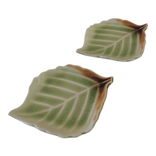 Ceramic Green and Brown Kenco Leaves Shaped Coasters - a Pair For Sale