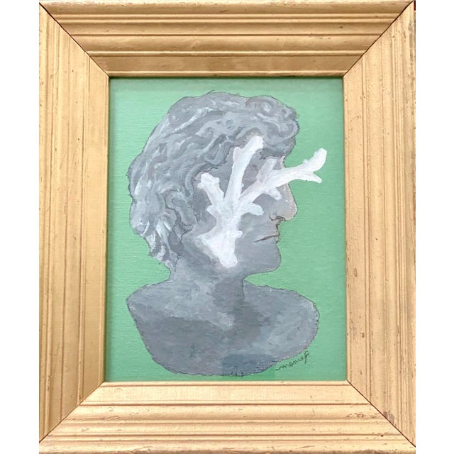 Vintage Roman Bust & Coral Fragment Painting, by Memo Faraj For Sale