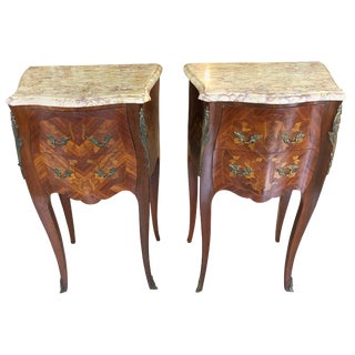 Lovely Pair of French Marquetry Nightstands With Roses and Marble Tops For Sale