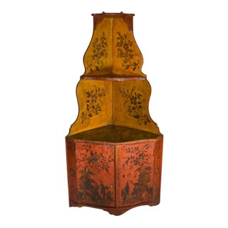1940s Chinese Primitive Painted Wood Corner Wall Cupboard