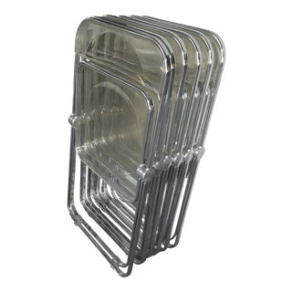 1960's Contemporary Castelli Plia Folding Lucite Chairs - Set of 6 For Sale