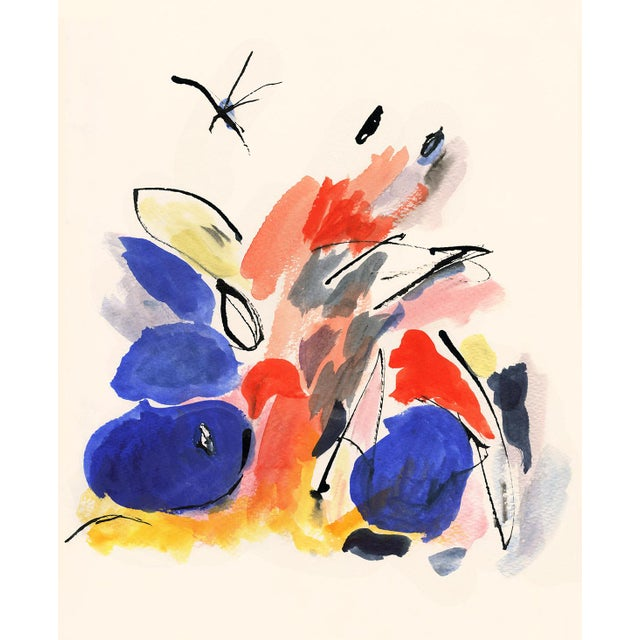 """Black """"Blue Notes No. 1"""", Mark Frohman for Dde, Abstract Primary Colors Painting For Sale - Image 8 of 8"""
