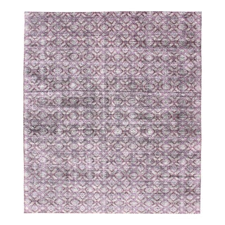 Silk Modern Distressed Rug in Light Purple, Gray and White For Sale