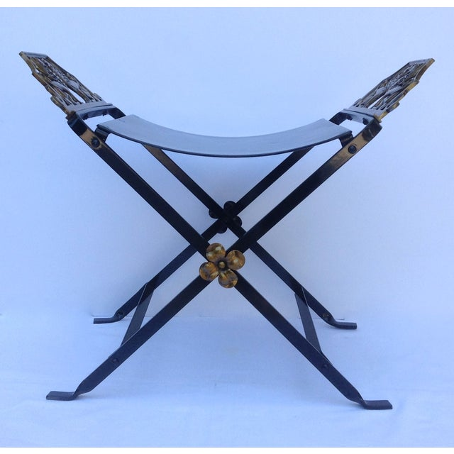 1920s Neoclassical Iron X-Frame Gryphons Bench For Sale - Image 4 of 10