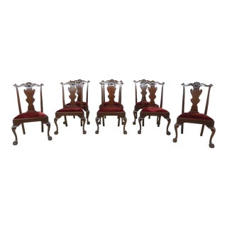 Set of 8 Henkel Harris Chippendale Mahogany Dining Room Chairs For Sale