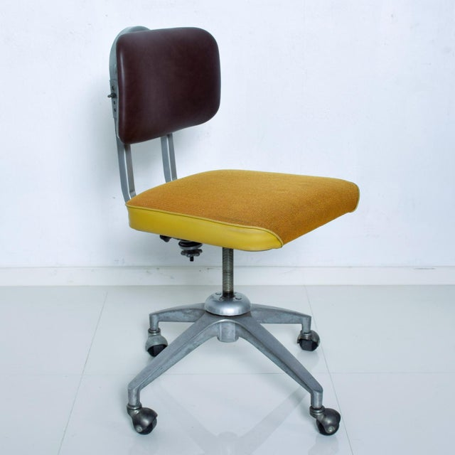 Metal Vintage Rolling Industrial Cosco Tanker Office Desk Chair For Sale - Image 7 of 10