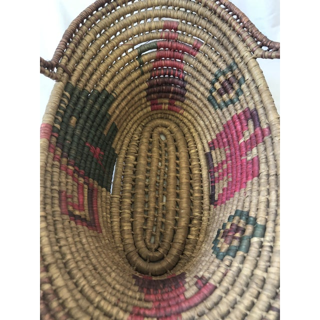 Vintage Handwoven Oval Basket With Handles For Sale In Denver - Image 6 of 8
