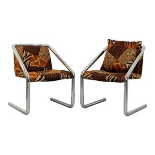 Mid-Century Modern Tubular Chrome Cantilever Armchairs 1970s Pair For Sale