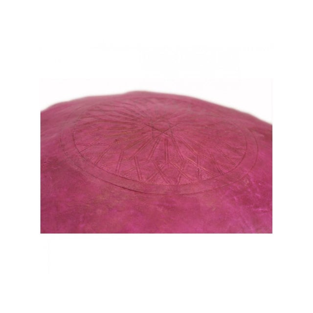 Fuchsia Moroccan Leather Pouf For Sale - Image 4 of 5