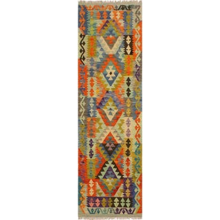 Tawnya Lt. Blue/Green Hand-Woven Kilim Wool Rug -2'7 X 6'9 For Sale