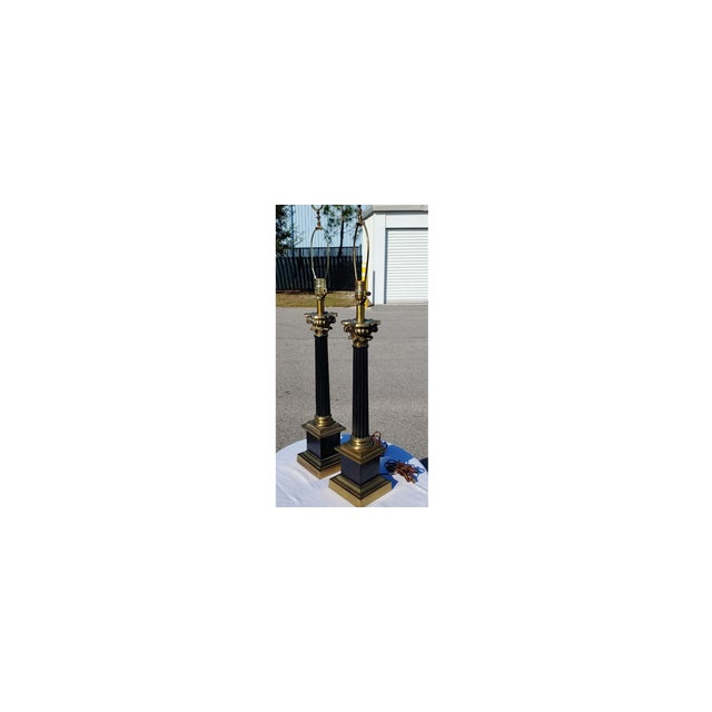 Black Mid Century Modern Black and Gold Metal Lamps - a Pair For Sale - Image 8 of 8