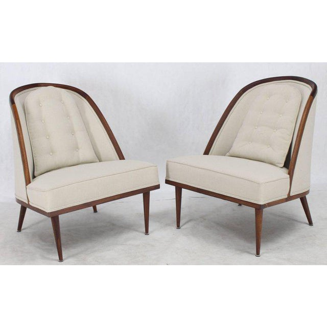 Mid-Century Modern Oiled Walnut Frame Barrel Back Lounge Chairs For Sale - Image 10 of 10