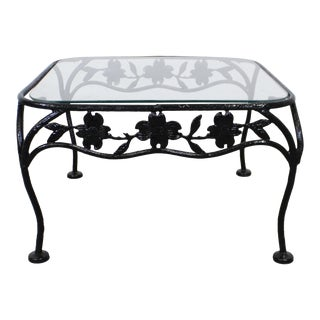 Vintage Wrought Iron Meadowcraft Dogwood Iron Outdoor Square Accent End Table For Sale