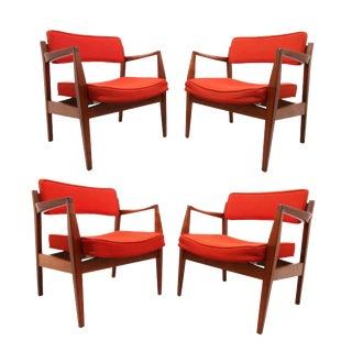 Mid Century Edward Axel Roffman Asscociates, Inc. Walnut Arm Chairs- Set of 4 For Sale