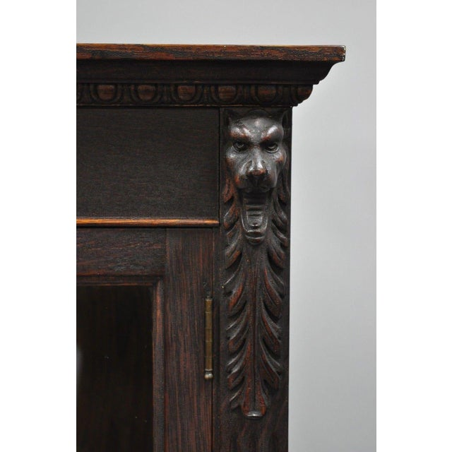 Late 19th Century Victorian Oak Glass Two Door Bookcase With Claw Feet Lion For Sale - Image 5 of 13