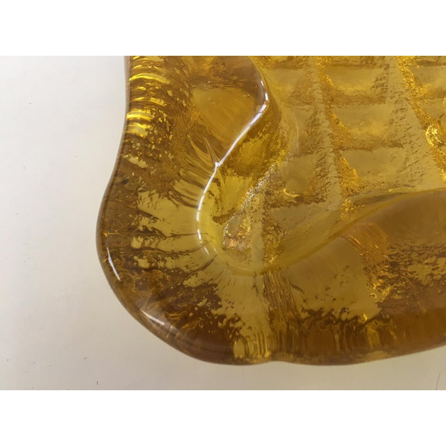 Blenko 1970s Brutalist Blenko Amber Biomorphic Glass Bowl For Sale - Image 4 of 12
