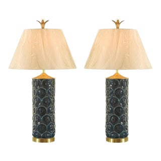 Stunning Restored Pair of Vintage Ceramic, Brass and Lucite Lamps For Sale